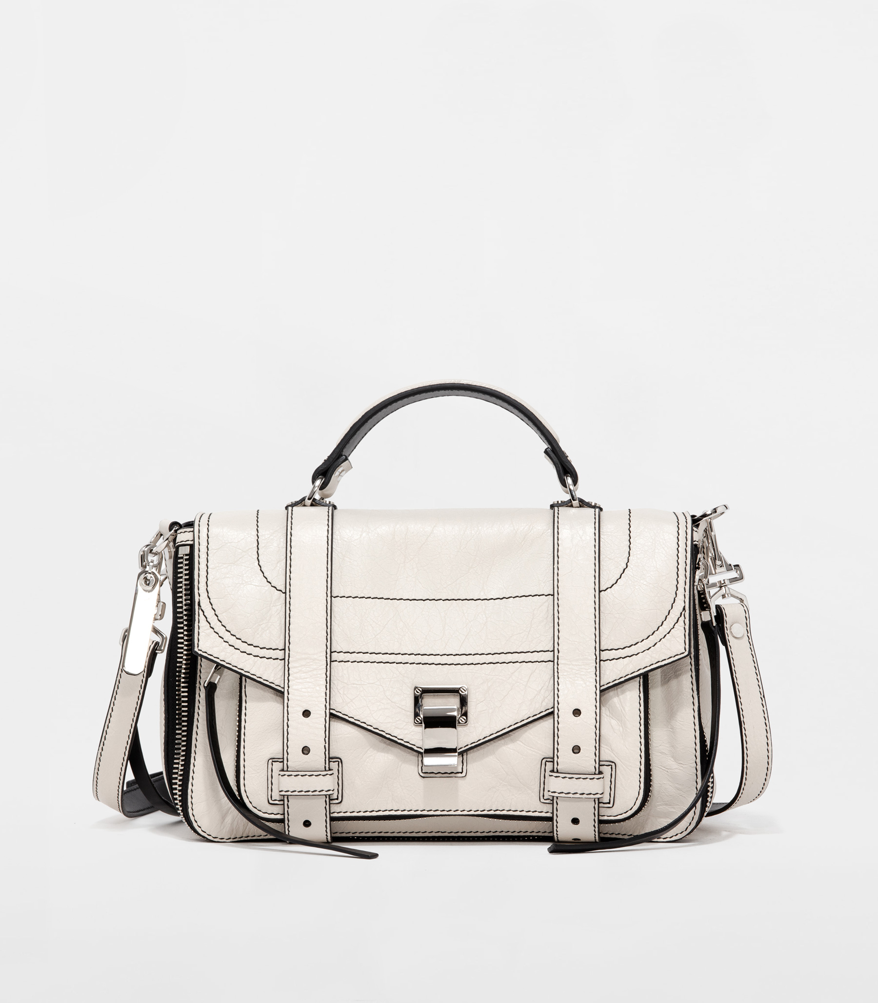 Butter Schouler Proenza Briefcase White Leather Tiny Playground In xI7q8q